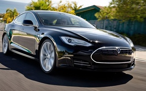 Picture supercar, black, Tesla, Model S