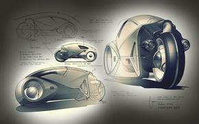 Picture model, motorcycle, 2560x1600, development, Concept Art., Concept art, flynnslightcycle