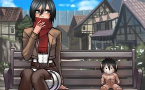 Picture look, girl, the city, toy, scarf, art, Titan, mikasa ackerman, Attack on Titan, Shingeki no …