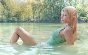 Picture girl, wet, Mike, decoration, legs, in the water