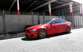 Picture red, bmw, BMW, wolf, red, wheels, drives, Blik, e92, people, ogradjena