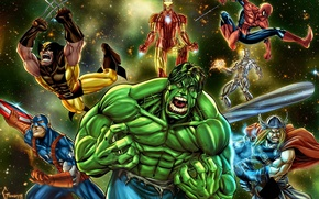 Picture Wolverine, captain america, thor, hulk, spider man, iron man, silver surfer