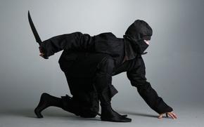 Picture knife, dagger, ninja, ninja, shinobi, black suit