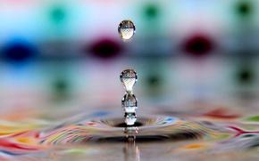 Picture color, water, macro, drop, refraction