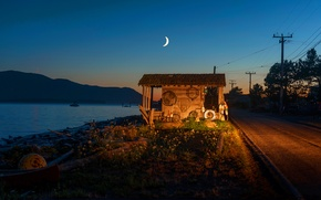 Picture moon, sunset, night, dusk, fishing, shack, waterfront, Lummi Island, Legoe Bay, crescent, reefnet