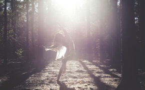 Picture forest, girl, rays, dance