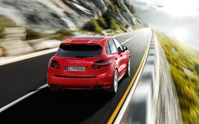 Picture road, red, speed, Porsche, Porsche Cayenne