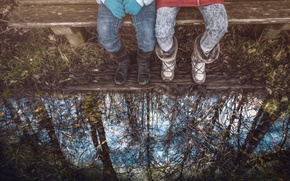 Picture reflection, treatment, puddle, bench