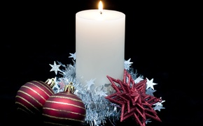 Picture holiday, black, balls, new year, Christmas, candle, stars, christmas, new year