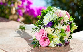 Picture flowers, roses, bouquet, blur, pink, white, bokeh