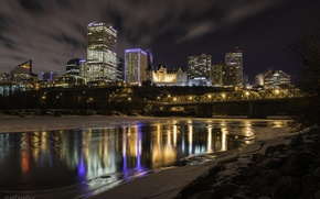 Picture night, the city, reflection, river, Canada, Canada, Edmonton, Edmonton