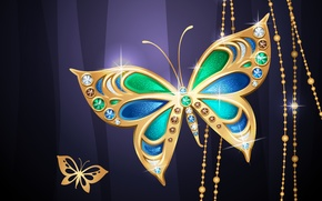Picture butterfly, background, beads