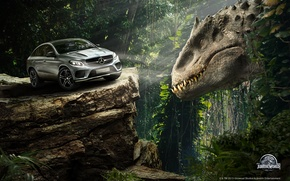 Wallpaper the situation, Jurassic World, Mercedes-Benz GLE Coupe, rock, fiction, dinosaur, forest, auto, Jurassic world, jungle