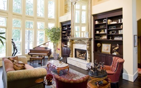 Picture room, sofa, Windows, plants, pillow, mirror, chairs, fireplace, table, figures, living room, cabinets, figurines