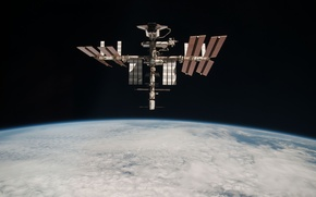 Picture space, clouds, planet, station, the atmosphere, ISS, abyss, Shuttle