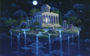 Wallpaper Moon Temple, GILBERT WILLIAMS, night, island, stars, waterfall, the sky
