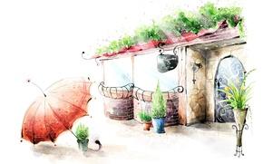 Picture flowers, umbrella, figure, lantern, cafe, railings, vase, pots
