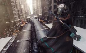 Picture weapons, fiction, street, rails, home, art, helmet, cloak, sci-fi