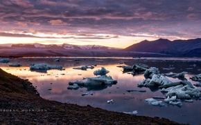 Picture sea, morning, Sunset, Jökulsárlón Glacier Lagoon