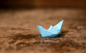 Picture wood, spring, Paper Ship