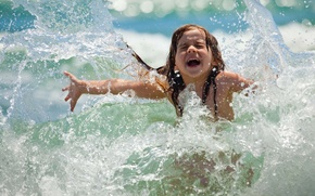 Picture wave, summer, water, joy, squirt, girl