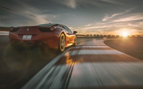 Picture Ferrari, Red, Sky, 458, Sun, Racing, Italia, Supercar, Dream, Track, Rear