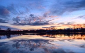 Picture the sky, water, clouds, trees, sunset, orange, surface, reflection, river, The evening