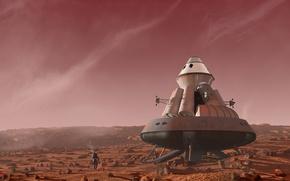 Picture spaceship, astronaut, argosy landscape. planet