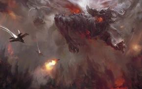 Picture fiction, monster, art, horn, destruction. battle