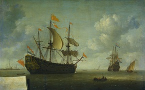 Picture boat, picture, sail, seascape, The Seizure Of The English Flagship, Jeronymus van Diest II