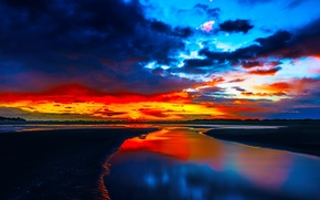 Picture sea, the sky, clouds, sunset, shore, tide, glow