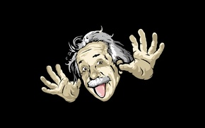 Wallpaper humor, cartoon, Albert Einstein