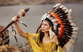 Picture girl, feathers, Asian