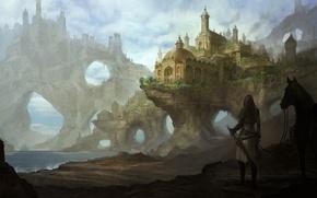 Picture sea, girl, lake, castle, rocks, horse, horse, sword, art, arch