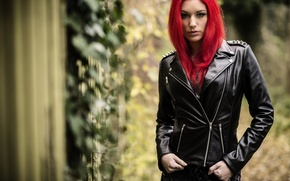 Picture look, girl, background, hair, red, red hair, leather jacket