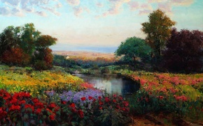 Picture the sky, trees, landscape, flowers, lake, oil, picture, meadow, art, Eric Wallis