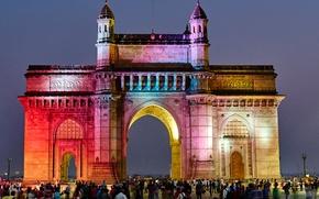 Picture people, India, architecture, Mumbai, India Gate