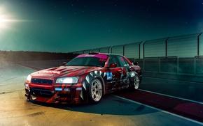 Picture GTR, Nissan, Drift, Car, Night, Skyline, R34, Track, Raceway