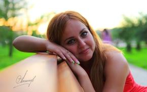 Picture eyes, girl, smile, lips, shop, sitting, looks, photographer Alexander Astapov