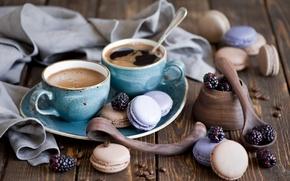 Picture berries, coffee, cookies, Cup, dessert, BlackBerry, spoon, macaron