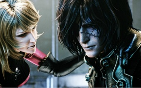 Picture face, blonde, pirates, two, scar, eye patch, Space Pirate, Captain Harlock, Skull and bones, Albator, ...