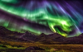 Picture stars, mountains, night, Northern lights, Norway, The Lofoten Islands