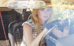 Picture auto, glass, girl, chair, makeup, actress, hairstyle, gloves, driving, sitting, salon, redhead, The Edit, 2016, …