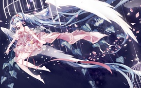 Picture girl, joy, flowers, swing, wings, cell, anime, petals, art, vocaloid, hatsune miku, amatsukiryoyu