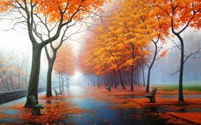 Wallpaper autumn, nature, Park, figure, picture, art, drawings, pictures
