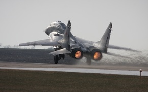 Wallpaper Photo, The MiG-29, Multipurpose, Speed, The rise, The airfield, Fighter, The plane