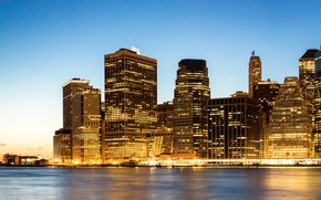 Picture night, lights, coast, New York, skyscrapers, USA, Manhattan