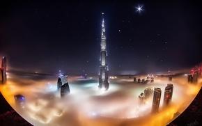 Picture stars, clouds, night, the city, fog, Dubai, Dubai, skyscrapers, UAE, Burj Khalifa