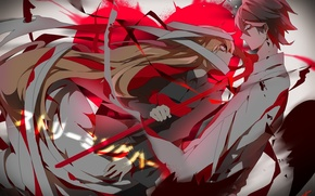 Picture girl, tape, blood, anime, art, guy, saihate
