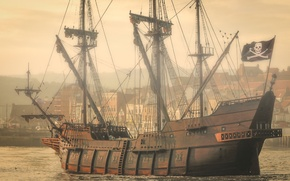 Picture ship, skull, flag, sails